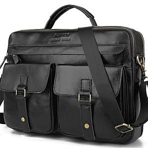 cheap Women's Sandals-Men's Bags Cowhide Briefcase Zipper for Daily / Office & Career Black Grey / Dark Brown / Fall & Winter