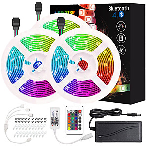 cheap LED Strip Lights-ZDM 50ft 3*5M App Intelligent Control Bluetooth Music Sync Flexible Led Strip Lights 5050 RGB SMD 450 LEDs IR 24 Key Bluetooth Controller with Installation Package 12V 6A Adapter Kit