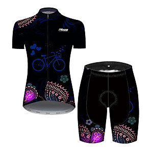cheap Car Interior Lights-Women's Short Sleeve Cycling Jersey with Shorts Black / Blue Butterfly Heart Bike Clothing Suit Breathable 3D Pad Quick Dry Ultraviolet Resistant Reflective Strips Sports Solid Color Mountain Bike