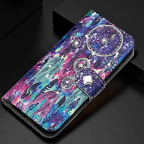 cheap Samsung Case-Case For Samsung Galaxy A51/ Galaxy A20e / Galaxy Note 10 Plus Wallet / Card Holder / Rhinestone Full Body Cases Feathers PU Leather For Galaxy A71/A10S/A20S/M30S/A2 Core/A10E