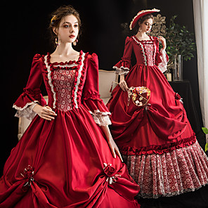 cheap Historical & Vintage Costumes-Maria Antonietta Retro Vintage Rococo Medieval Dress Women's Costume Burgundy Vintage Cosplay Event / Party Prom 3/4-Length Sleeve Floor Length Ball Gown