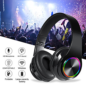 cheap Gaming Headsets-B39 Colorful Wireless Bluetooth Headset LED Light Head-mounted HiFi Bass Stereo Sound Effect Bluetooth 5.0 Headphone