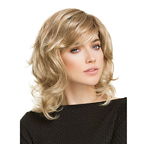 cheap Synthetic Trendy Wigs-Synthetic Wig Curly Matte Side Part Wig Long Light golden Synthetic Hair 14 inch Women's Exquisite curling Fluffy Blonde