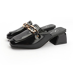 cheap Women's Boots-Women's Clogs & Mules Spring &  Fall / Spring & Summer Block Heel Square Toe Casual Daily PU Black / Beige
