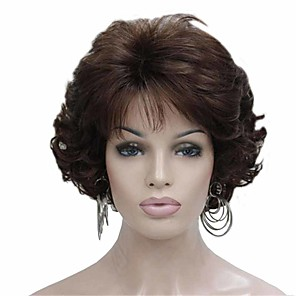 cheap Synthetic Trendy Wigs-Synthetic Wig Curly Matte Layered Haircut Wig Short sepia Synthetic Hair 6 inch Women's Fashionable Design curling Fluffy Brown
