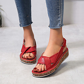 cheap Abstract Paintings-Women's Sandals Flat Sandal Slingback Summer Flat Heel Open Toe Casual Daily PU Black / Red / Blue