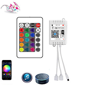 cheap Lamp Bases & Connectors-WiFi Wireless Double head LED Smart Controller Working with Android and IOS System Mobile Phone Free App for RGB LED Light 5V to 28V DC 4A Comes With One 24 Keys Remote Control