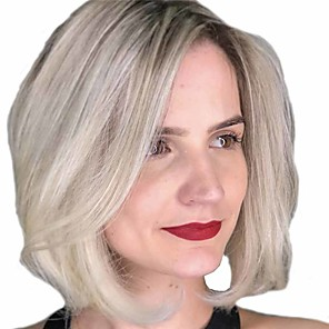 cheap Synthetic Trendy Wigs-Synthetic Wig Matte Shimmer Side Part Wig Short Light golden Synthetic Hair 14 inch Women's Ombre Hair Middle Part Exquisite Blonde