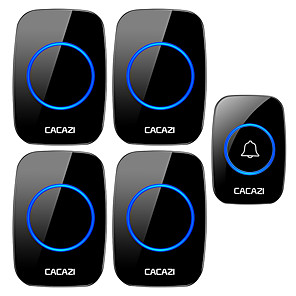 cheap Doorbell Systems-CACAZI Wireless Doorbell Waterproof 1 Button 4 Receiver 300M Remote LED Night Light Call Bell 0-110 dB 60 Chimes US EU UK AU Plug