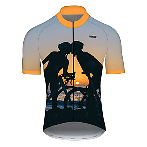 cheap Cycling Jerseys-21Grams Men's Short Sleeve Cycling Jersey Nylon Polyester Black / Orange Funny Bike Jersey Top Mountain Bike MTB Road Bike Cycling Breathable Quick Dry Ultraviolet Resistant Sports Clothing Apparel