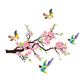 cheap Wall Stickers-Plum Blossoms Branches Magpies Wall Sticker PVC Decals Room Decor Poster Home Decor