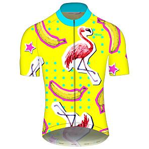 cheap Cycling Jerseys-21Grams Men's Short Sleeve Cycling Jersey Spandex Polyester Yellow Animal Bear California Republic Bike Jersey Top Mountain Bike MTB Road Bike Cycling UV Resistant Breathable Quick Dry Sports