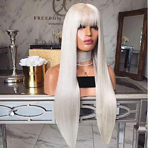 cheap Synthetic Lace Wigs-Synthetic Wig kinky Straight With Bangs Wig Long Creamy-white Synthetic Hair 18 inch Women's Simple Fashionable Design Women White