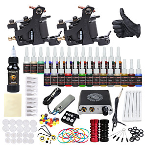 cheap Tattoo Machines-DRAGONHAWK Tattoo Machine Starter Kit - 2 pcs Tattoo Machines with 1 x 30 ml / 28 x 5 ml tattoo inks, Professional, Safety, Easy to Install Alloy Mini power supply Case Not Included 2 alloy machine