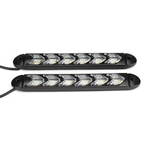 cheap Car Signal Lights-2X Flowing LED Lights Flexible DRL Turn Signal Lamp Strip Switchback White/Amber