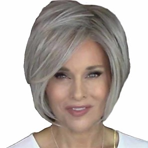 cheap Synthetic Trendy Wigs-Synthetic Wig Natural Straight Short Bob Wig Short Grey Synthetic Hair 14 inch Women's Women Easy dressing Fluffy White
