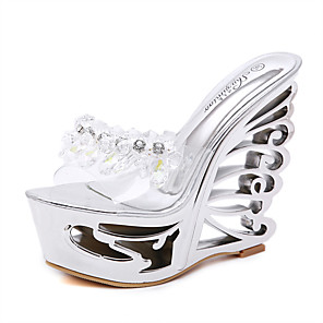 cheap Women's Sandals-Women's Sandals Wedge Sandals Clear / Transparent / PVC Summer Wedge Heel Round Toe Classic Party & Evening Crystal Solid Colored PU Gold / Silver