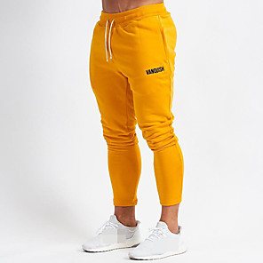 cheap Running & Jogging Clothing-Men's Sweatpants Joggers Jogger Pants Track Pants Sports & Outdoor Athleisure Wear Bottoms Drawstring Cotton Running Walking Jogging Training Breathable Moisture Wicking Soft Sport Black Yellow Solid