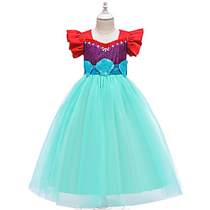 cheap Movie & TV Theme Costumes-The Little Mermaid Princess Dress Flower Girl Dress Girls' Movie Cosplay A-Line Slip Blue Dress Children's Day Masquerade Satin / Tulle Sequin