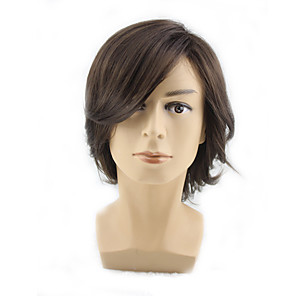 cheap Synthetic Trendy Wigs-Synthetic Wig Straight Curly Asymmetrical Wig Short Brown Blonde Synthetic Hair 12 inch Men's New Design Cool Exquisite Blonde Brown