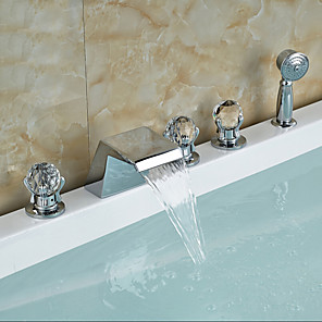 cheap Bathtub Faucets-Bathtub Faucet - Contemporary Chrome Tub And Shower Ceramic Valve Bath Shower Mixer Taps