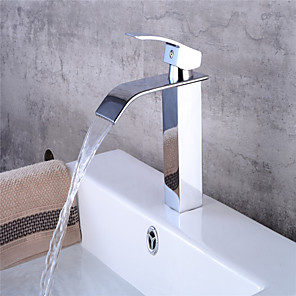 cheap Bathroom Sink Faucets-Wide Mouth Single Hole Copper Basin Waterfall Faucet Bathroom Washbasin Waterfall Hot And Cold Faucet