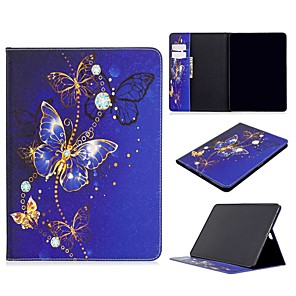 cheap iPad case-Case For Apple iPad Air / iPad 4/3/2 / iPad Mini 3/2/1 Wallet / Card Holder / with Stand Full Body Cases Butterfly PU Leather For iPad 10.2 2019/New Air 10.5 2019/Pro 11 2020/Mini 4/Mini 5/Pro 9.7