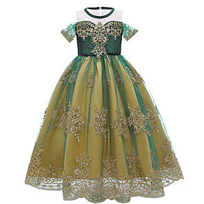 cheap Movie & TV Theme Costumes-Frozen Princess Anna Dress Girls' Movie Cosplay Halloween Christmas Green Dress Christmas Halloween