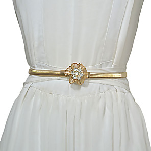 cheap Party Sashes-Metalic Wedding / Party / Evening Sash With Belt / Crystals / Rhinestones Women's Sashes
