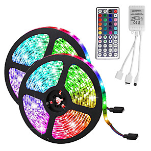 cheap Indoor Wall Lights-LED Strip Light (2*5M)10M/32.8ft 3528 RGB 600leds 8mm Strips Lighting Flexible Color Changing with 44 Key IR Remote Ideal for Home Kitchen Christmas TV Back Lights DC 12V