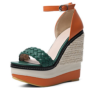 cheap Women's Sandals-Women's Sandals Wedge Sandals Summer Wedge Heel Peep Toe Daily Synthetics Red / Green