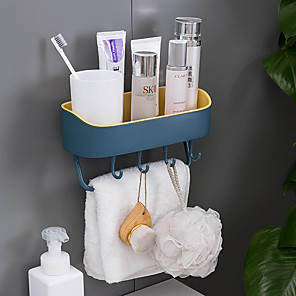 cheap Bath Body Care-Toilet Rack Wall-mounted Toilet Washbasin Bathroom Towel Rack Suction Wall Type Double-layer Punch-free Storage Rack