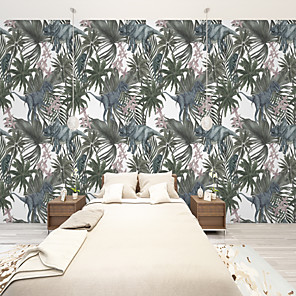cheap Wallpaper-Custom Self-Adhesive Mural Wallpaper Nostalgic Rainforest Leaves Suitable For Bedroom Living Room Cafe Restaurant  Wall Cloth  Room Wallcovering