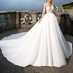 cheap Wedding Veils-A-Line Wedding Dresses V Neck Court Train Lace Long Sleeve Casual Beach Illusion Sleeve with 2020