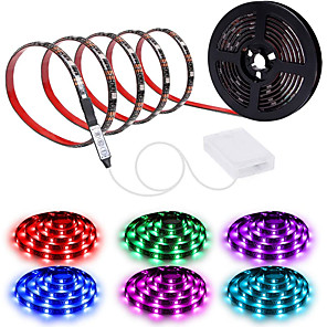 cheap LED String Lights-200CM Waterproof LED Light Strips RGB Tiktok Lights Strip AA Battery Box MINI 3key controller Battery Powered Multi Color