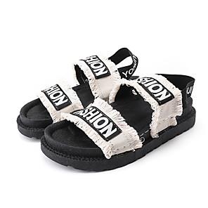 cheap Women's Sandals-Women's Sandals Flat Sandal Summer Flat Heel Open Toe Casual Daily Outdoor Slogan Canvas White / Black