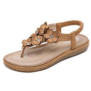 cheap Women's Sandals-Women's Sandals Summer Flat Heel Open Toe Daily PU Almond / Black / Brown