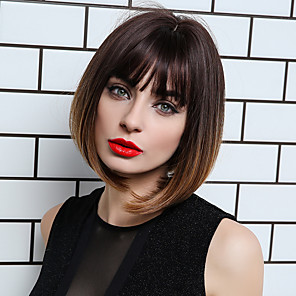 cheap Synthetic Lace Wigs-Synthetic Wig Bangs Straight Natural Straight Side Part Neat Bang With Bangs Wig Short Ombre Brown Synthetic Hair 12 inch Women's Cosplay Women Synthetic Brown HAIR CUBE