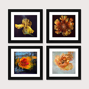 cheap Framed Arts-Framed Art Print Framed Set 4 - American Idyllic Adornment Picture French Country Brief Beautiful Dining-Room Mural Porch Bedroom Head of a Bed Flower Hangs Picture PS Illustration Wall Art