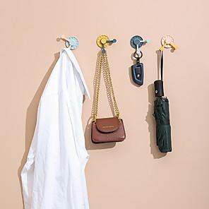 cheap Bathroom Gadgets-4Pcs Pack Creative Masks Hook Hanging Kitchen Wall Non-trace Hook Hook Punch Free Rotation Strong Hook Random Color