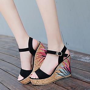 cheap Women's Sandals-Women's Sandals Summer Wedge Heel Open Toe Daily Suede Black / Green / Beige