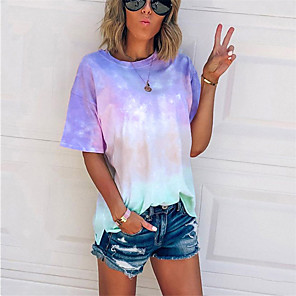 cheap Selfie Sticks-Women's Daily Plus Size T-shirt Color Block Tie Dye Print Short Sleeve Tops Basic Streetwear Blue Purple Blushing Pink / Going out
