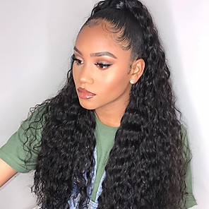 cheap Synthetic Trendy Wigs-Remy Human Hair 4x4 Closure Wig style Brazilian Hair Deep Wave Natural Wig 150% Density New Arrival Women's Long Medium Length Very Long Human Hair Lace Wig