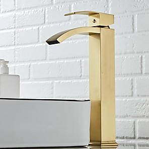 cheap Bathroom Sink Faucets-Bathroom Sink Faucet - Waterfall Nickel Brushed Centerset Single Handle One HoleBath Taps