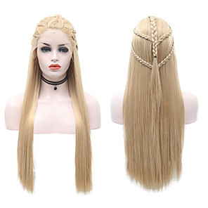 cheap Makeup Brush Sets-Synthetic Lace Front Wig Straight Side Part Lace Front Wig Blonde Long Blonde Synthetic Hair 18-26 inch Women's Soft Adjustable Party Blonde