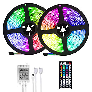 cheap Neon LED Lights-(2*5M)10M/32.8ft LED Light Strips RGB Tiktok Lights 2835 600leds 8mm Strips Lighting Flexible Color Changing with 44 Key IR Remote Ideal for Home Kitchen Christmas TV Back Lights DC 12V