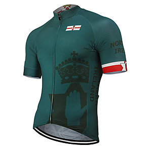 cheap Cycling Jerseys-21Grams Men's Short Sleeve Cycling Jersey Polyester Green Ireland National Flag Bike Jersey Top Mountain Bike MTB Road Bike Cycling UV Resistant Breathable Quick Dry Sports Clothing Apparel