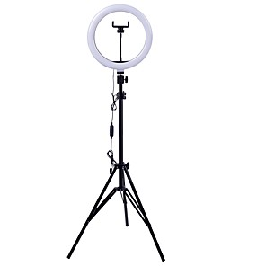 cheap Phone Mounts & Holders-26cm LED Selfie Ring Light 24W 5500K Studio Photography Photo Fill Ring Light with Tripod for iphone Smartphone Makeup
