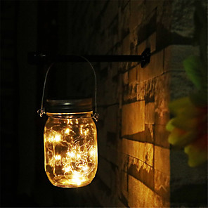 cheap LED String Lights-Indoor Outdoor Waterproof Lamp Solar Mason Jar Lights 2M 20 Led String Fairy Firefly Lights for Patio Lawn Garden Party Decorati