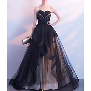 cheap Evening Dresses-Ball Gown Elegant Black Wedding Guest Formal Evening Dress Strapless Sleeveless Court Train Organza with Tier 2020